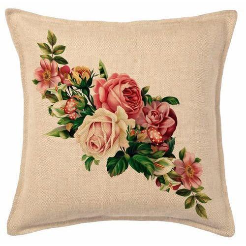 Floral Print Jute Cushion Cover 02