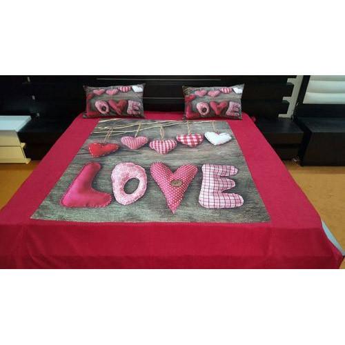Love Print Velvet Double Bed Sheet Set