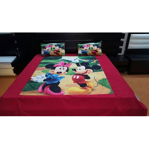 Mickey & Minnie Mouse Print Velvet Double Bed Sheet Set