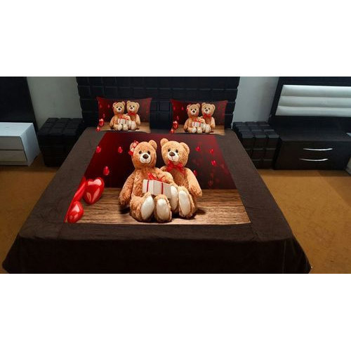 Teddy Print Velvet Double Bed Sheet Set