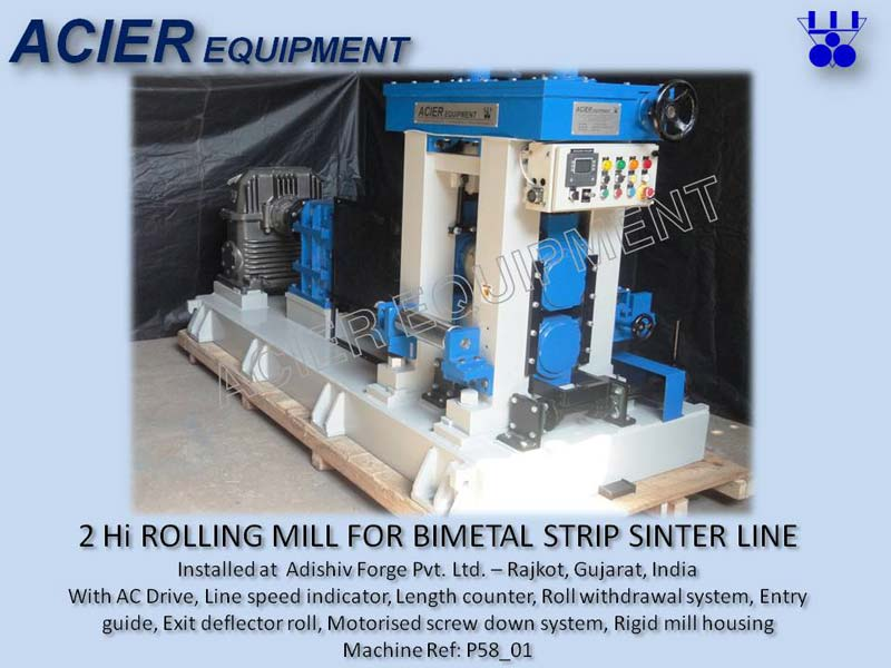 2 Hi Rolling Mill For Bimetal Strip Sinter Line