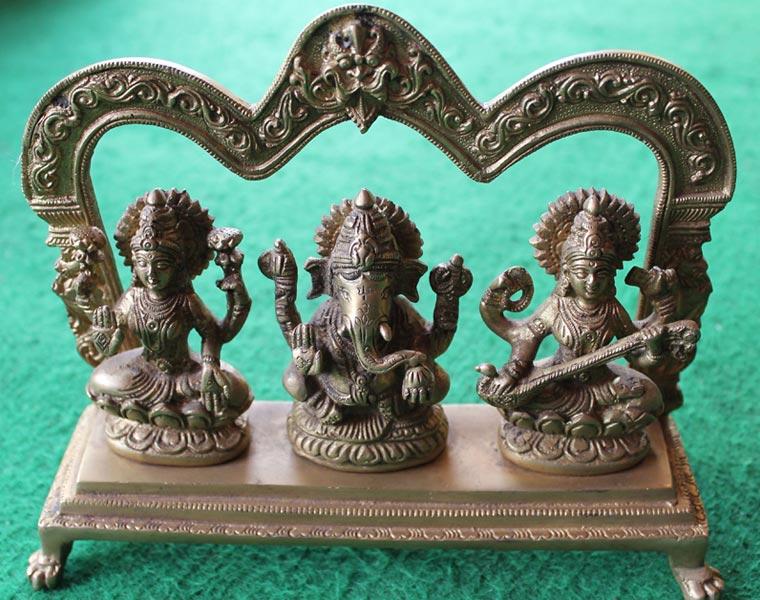 Saraswati, Ganesh , Laxmi Statue