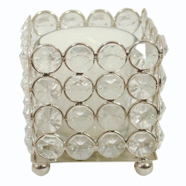 Votive Candles with Crystal Stands