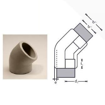 PP Socket Fusion Pipe Molded Elbow (45 Degree)