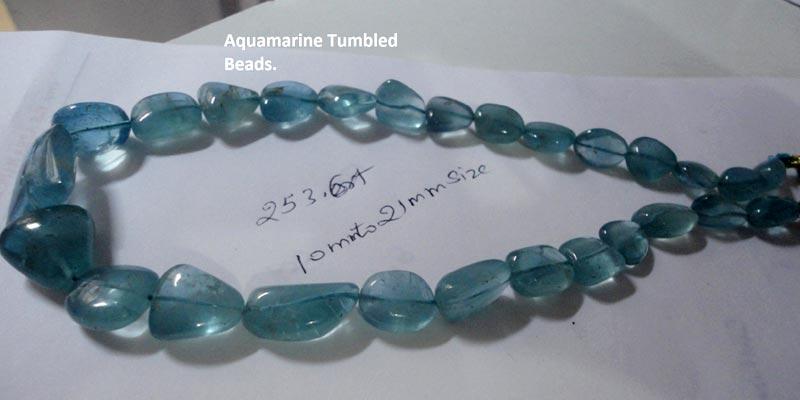 Aquamarine Tumbled Beads