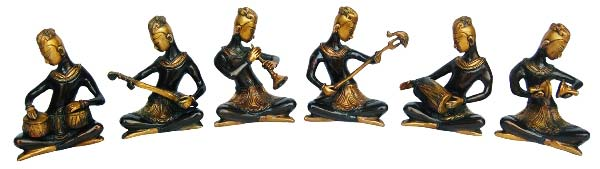 Sitting Musician Set of Brass Statue for Decor and Gift