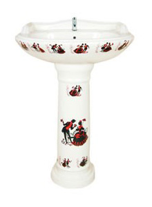 Sticker Series Wash Basin with Pedestal