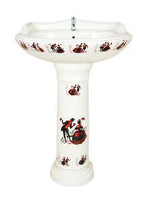 Sticker Series Wash Basin with Pedestal