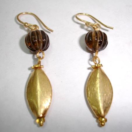 Brass Beaded Earrings