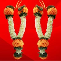 Orange Flower With Jasmine Artificial Garland