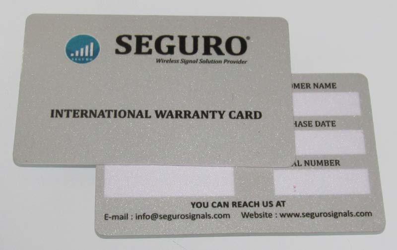 Plastic Warranty Card