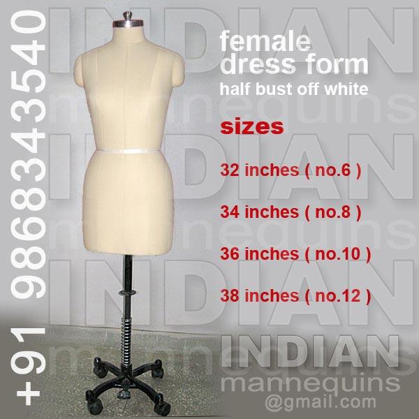 Female Dress Form Half Bust Off White