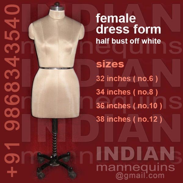 Female Dress Form  Half Bustl Off White