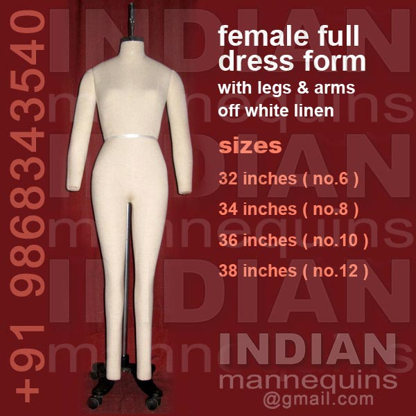 Female Full Dress Form With legs & Arms Off White Linen
