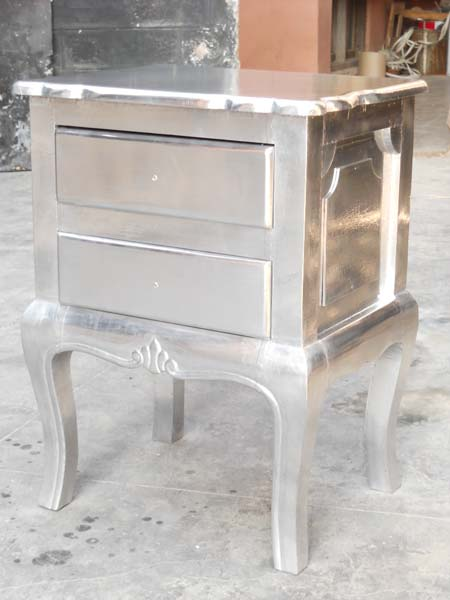 White Metal Embossed Bedside Cabinet (NB-WMBI4)
