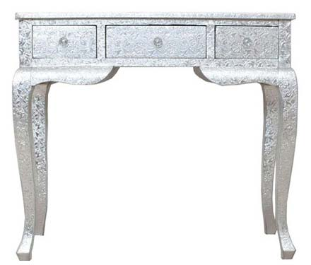 White Metal Embossed Console Table (NB-WMCNTL-104)