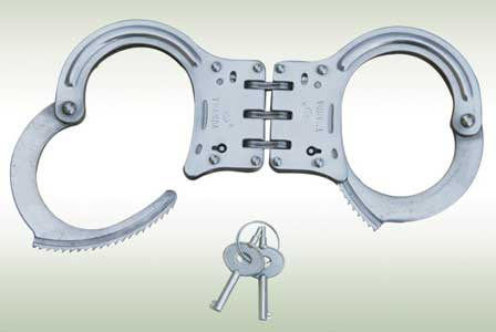 Hinged linked Police Handcuffs