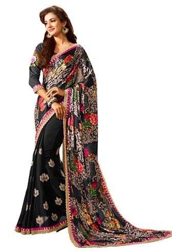 Impressive Black Georgette Designer Saree