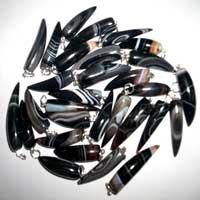 Black Banded Horn Shaped Pendants