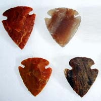 Hand Knapped Indian Jasper Arrowheads 04