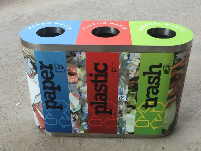 Waste Segregation Bin Trio Steel