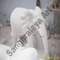 Marble Elephant Statue 09