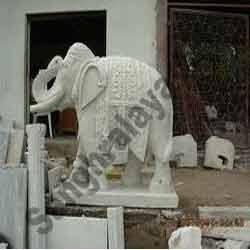 Marble Elephant Statue 08