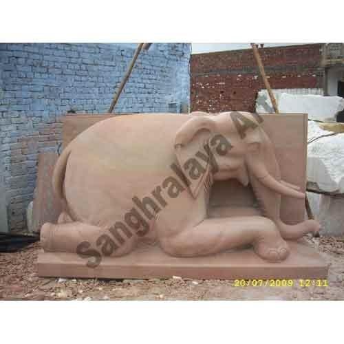 Sand Stone Elephant Statue 03