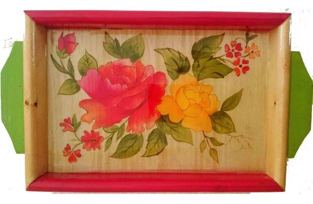 Hand Painted Wooden Tray 10