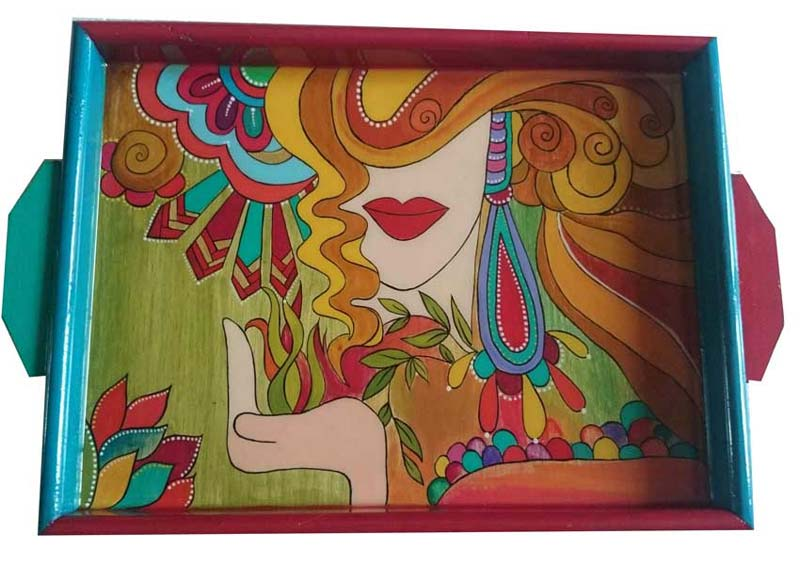 Hand Painted Wooden Tray 13