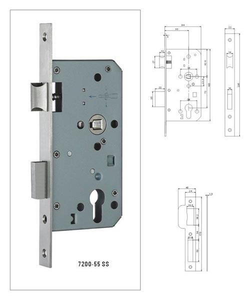 Mortise Door Lock (7200-55 SS)