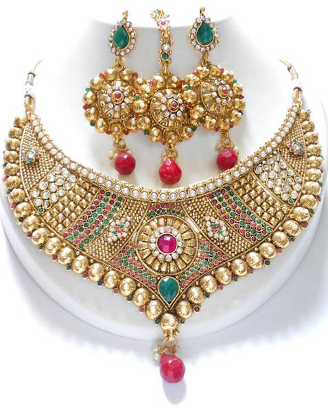 design india necklace sets bridal semi jewellery flower antique online set multicolor buy