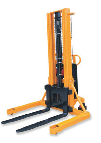 Semi Electric Stacker With Wide Leg