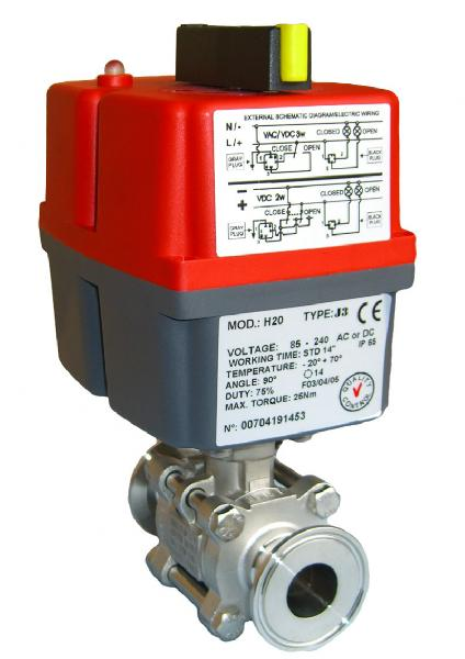 Electric Stainless Steel 3 Piece Hygienic Ball Valve