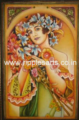 Girl Floral Decorative Mural Painting