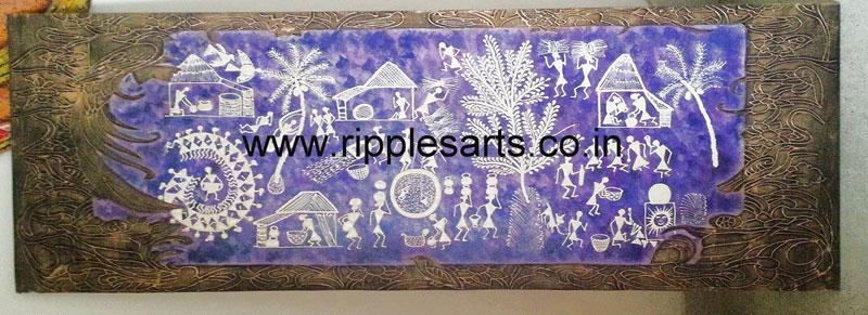 Warli Blue Mural Painting