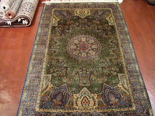 Kirman Silk On Silk Carpet (4X6)