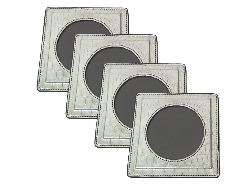 Leather Coaster Set (17-Silver)
