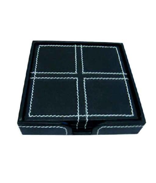 Leather Coaster Set (14A-Black)