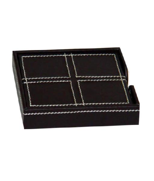 Leather Coaster Set (14A-Brown)