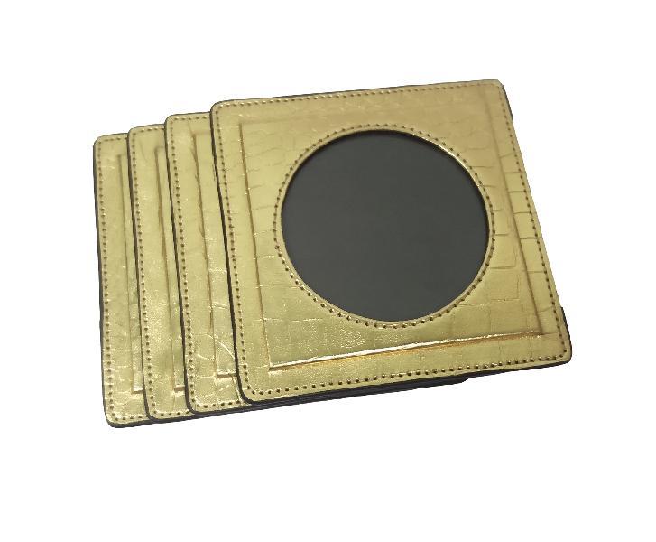 Leather Coaster Set (17-Golden)