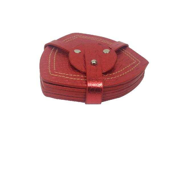 Leather Coaster Set (18-Red)