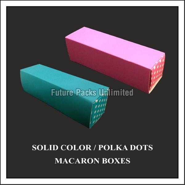 Solid Color with Polka Dots Macaron Boxes