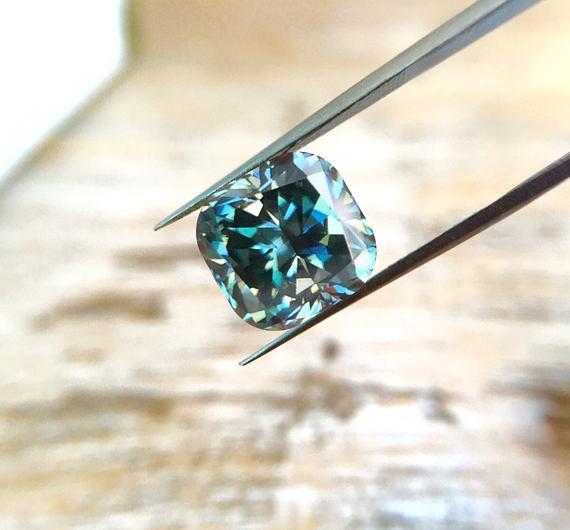 Green Cushion Cut Moissanite Diamond