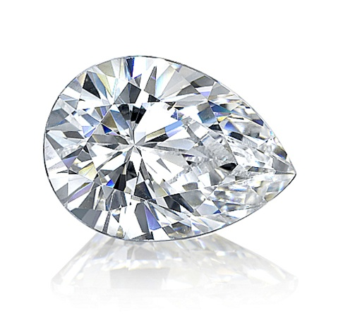 Pear Cut White Moissanite Diamond