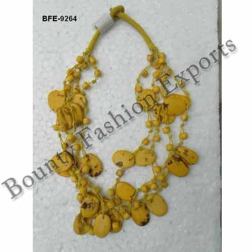Bone Yellow Bead Necklaces