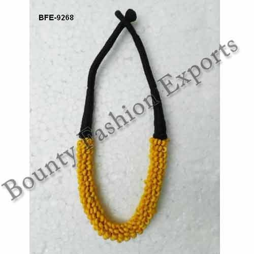 Bone Yellow-Black Bead Necklaces