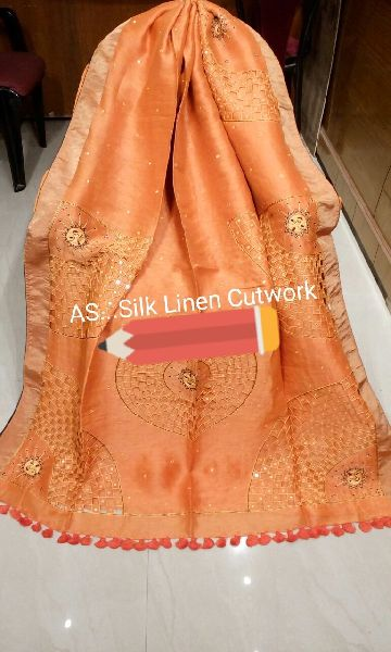Cutwork Embroidered Linen Silk Sarees 03