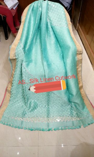 Cutwork Embroidered Linen Silk Sarees 04