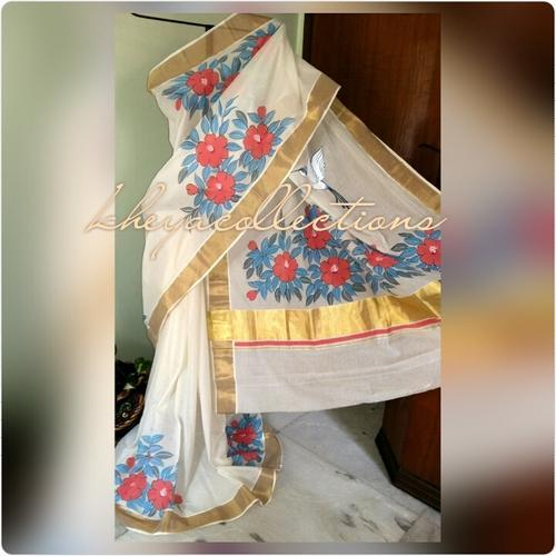 Hand Painted Kerala Cotton Saree 02